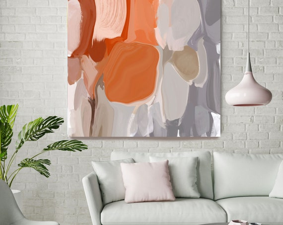 """Positive Energy 1, Colorful Blur Abstract Painting, Orange Gray Canvas Art Print up to 48"""" by Irena Orlov"""