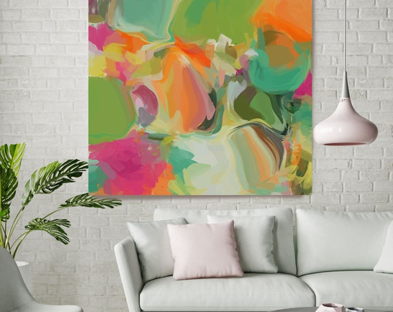 """Simply Gratitude 1, Colorful Blur Abstract Painting, Green Orange Pink Canvas Art Print up to 48"""" by Irena Orlov"""