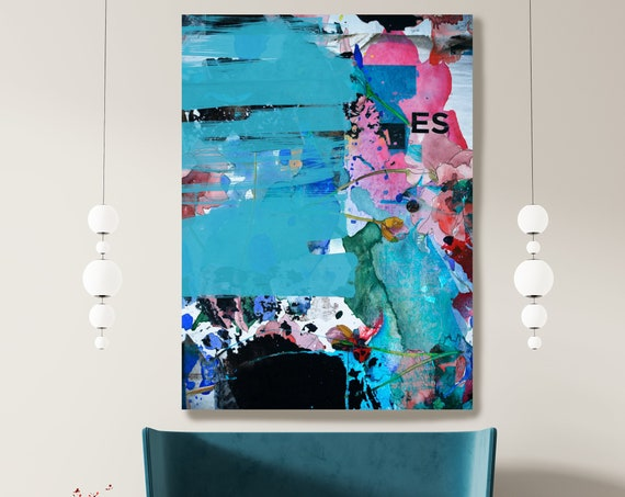 Abstract Blue Pink Painting on Canvas, Extra Large Canvas Print, Oversized Textured Art, Art for Interiors, different from themselves