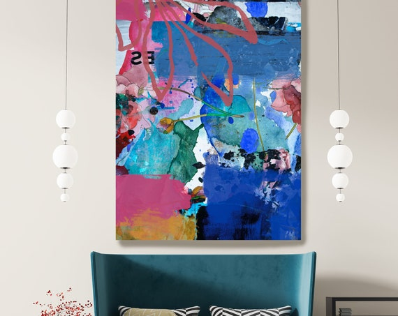 Abstract Blue Pink Painting on Canvas, Extra Large Canvas Print, Oversized Textured Art, Art for Interiors, the woods of secrecy 2