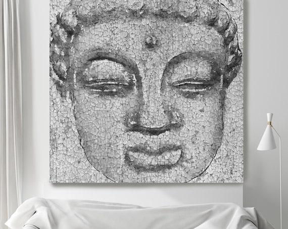 Silver Buddha Painting Canvas Print, Buddha Wall Art, Spiritual Buddha Wall Art, Buddhist art, Zen wall painting, Canvas Wall Art Print