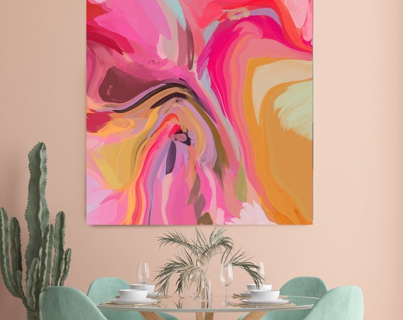 Sparks of pink and Yellow Abstract Fine Art Canvas, Abstract Art, Contemporary Art, Modern Pink Painting, Expressionism Canvas Print