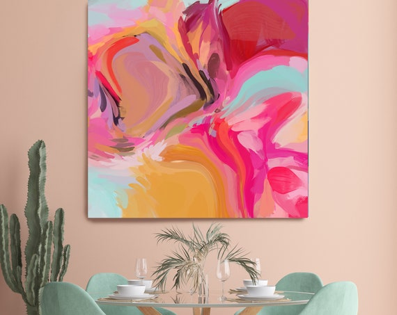 Sparks of pink Abstract Fine Art Canvas, Abstract Art, Contemporary Art, Modern Hot Pink Painting, Expressionism Canvas Print