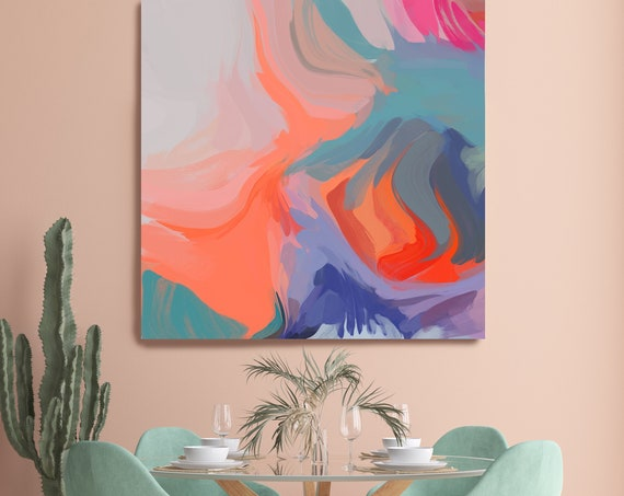 Coral Aqua Abstract Fine Art Canvas Abstract Art, Contemporary Art, Modern Hot Pink Painting, Expressionism Canvas Print, Honeyed Daydream 4