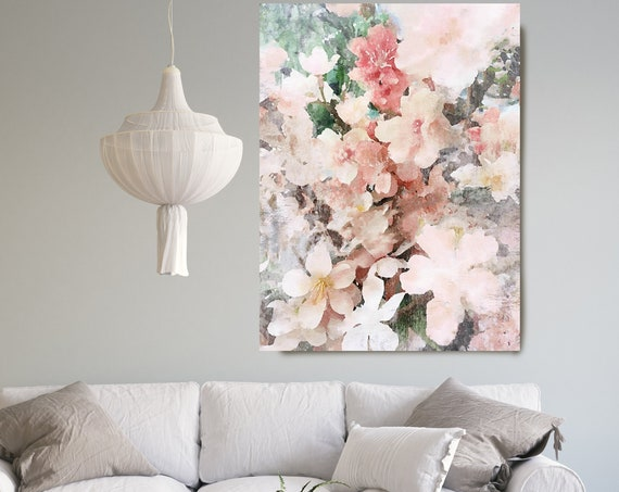 Coral Blue Floral painting, Shabby Chick Art, Floral Art, Floral Wall Art, Rustic Flowers Canvas Print Blushing Sprinkles Farmhouse Wall Art