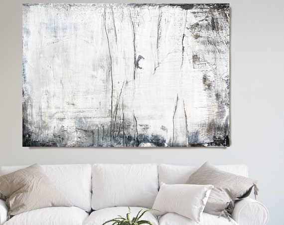 Snow White 5, White Abstract Painting Modern Art Abstract Painting Extra Large Painting Extra Large Abstract Canvas Art Print Minimalist