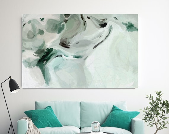 Teal Modern Abstract Wall Art Decor, Green Abstract Art, Large Wall Art Teal Abstract Canvas Print, Secret Wall Art for Home or Office