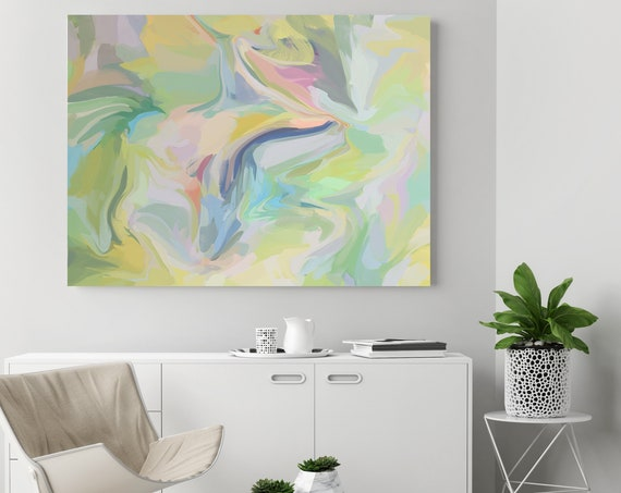 Gravitational influence, Green Pink pastel colors Art, Abstract painting, Colorful painting, modern art, Canvas Art Print, Fluid painting
