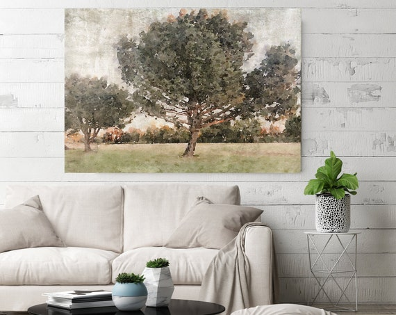 rustic landscape painting, landscape watercolor, landscape art print, rustic landscape Canvas Print, Rural Landscape In The Foggy November 2