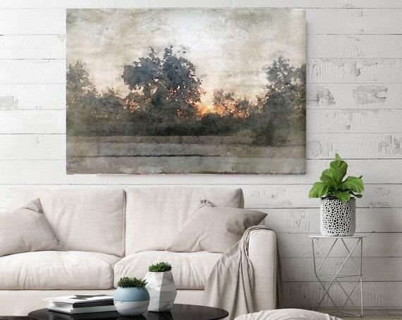 rustic landscape painting, landscape watercolor, landscape art print, rustic landscape Canvas Print, Rural Landscape In The Foggy November 4