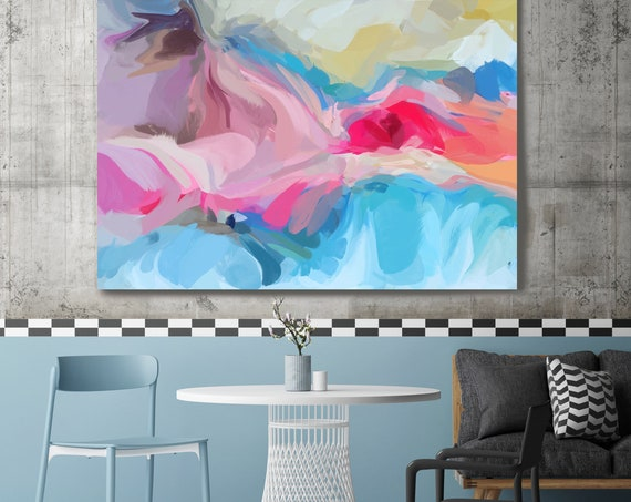 """Potential, Abstract Painting Modern Wall Art Painting Canvas Art Print Art Modern Blue Red up to 80"""" by Irena Orlov"""