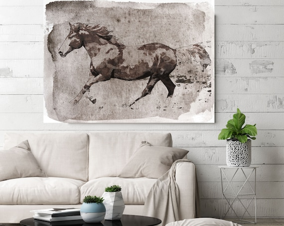 Brown Horse Running. Horse Art Large Canvas, Horse Art Brown Rustic Horse Rustic Vintage Horse Wall Art Print Watercolor Horse, Equine Art