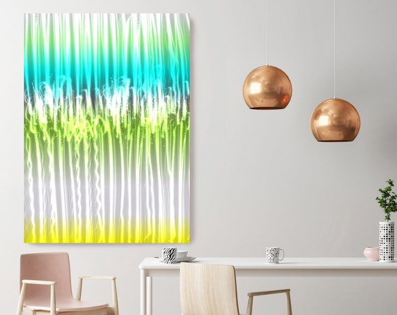 "Mysterious Light 18, Neon Blue Green Yellow Contemporary Wall Art, Extra Large New Media Canvas Art Print up to 72"" by Irena Orlov"