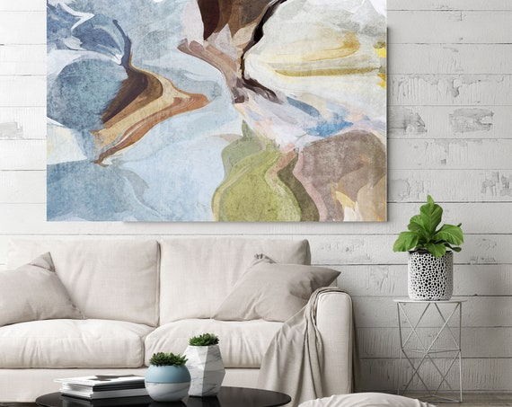 """Washed out, Abstract Painting Modern Wall Art Painting Canvas Art Print Art Modern Green Blue Brown up to 80"""" by Irena Orlov"""