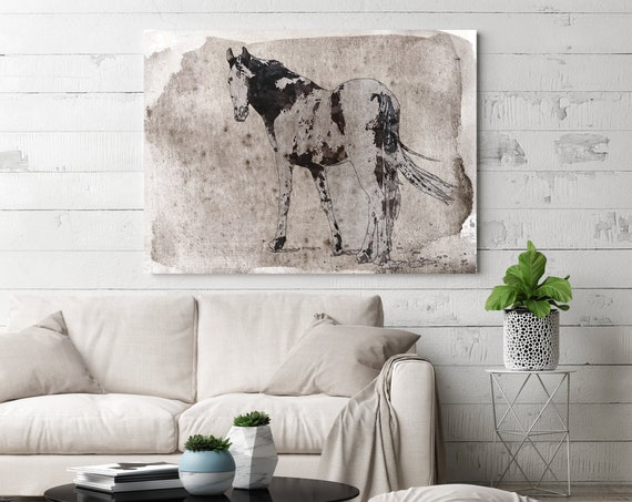 Horse on the meadow 3 | Horse Painting | Giclee | Farm Animal | Horse Art| Rustic Horse | Horse Canvas | Abstract Horse Watercolor Horse
