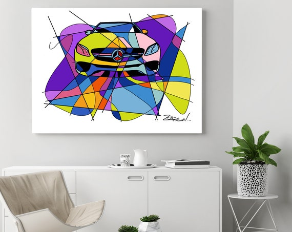 "Mercedes, Mercedes art print. Purple Mercedes Painting Canvas Art Print, Kids Wall Decor, Cars Wall Decor up to 72"" by Zeev Orlov"