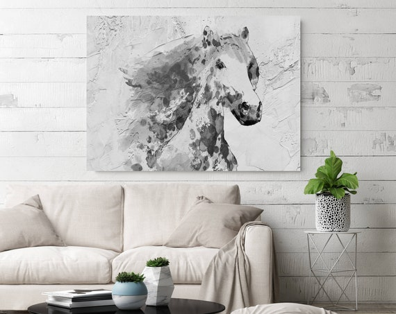 White Stallion Horse Painting, Horse Painting, Equine Wall Decor, Equine Wall Art, Giclee Print on Canvas, Art on Canvas