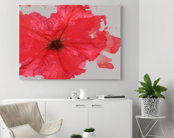 "Sweet Melody. Floral Painting, Red Abstract Art, Wall Decor, Large Abstract Colorful Contemporary Canvas Art Print up to 72"" by Irena Orlov"