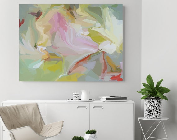 Gravitational influence 4, Green Pink pastel colors Art, Abstract painting, Colorful painting, modern art, Canvas Art Print, Fluid painting