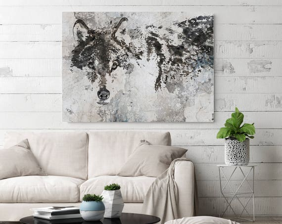 Wolf Canvas Art, Wolf Canvas Painting, Wolf Wall Art, Wolf Painting, White Grey Wall Art, Big Wolf, Wolf Wall Decor, Wolf Art Print
