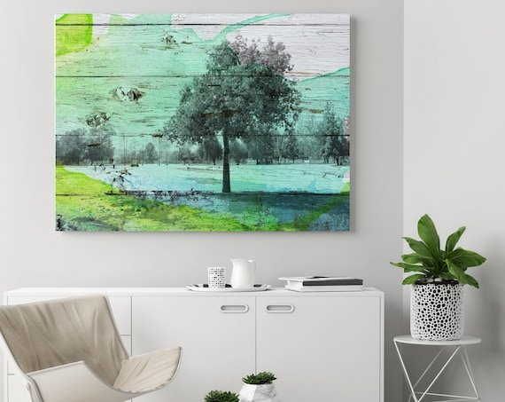 """Shade Tree. Huge Rustic Landscape Painting Canvas Art Print, Extra Large Green Blue Canvas Art Print up to 80"""" by Irena Orlov"""