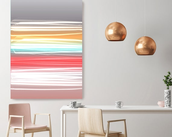 "Mysterious Light 35-2, Neon Red Blue Yellow Pink Contemporary Line Wall Art, Extra Large New Media Canvas Art Print up to 72"" by Irena Orlov"