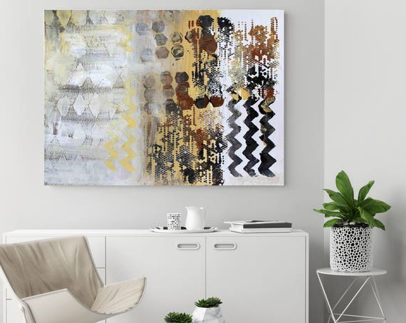 """Geometric Abstraction B2B. Yellow Brown Abstract Art, Extra Large Abstract Colorful Contemporary Canvas Art Print up to 72"""" by Irena Orlov"""