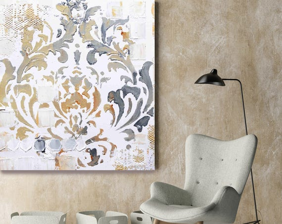 """From Behind III. White Brown Gray Abstract Art Print, Extra Large Abstract Colorful Contemporary Canvas Art Print up to 48"""" by Irena Orlov"""