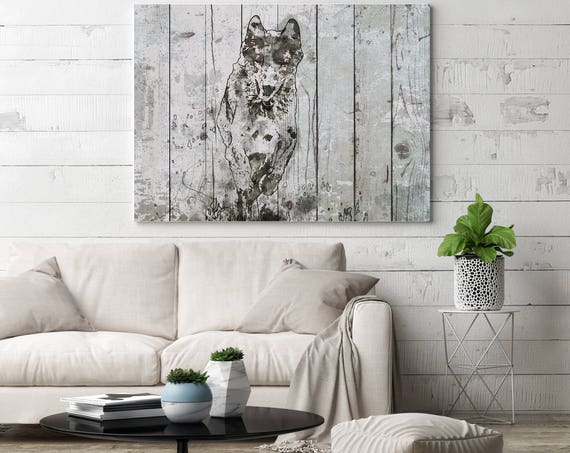"""Running Wolf. Extra Large Wolf Canvas, Unique Wolf Wall Decor, Gray Blue Rustic Wolf Canvas Art Print up to 72"""" by Irena Orlov"""