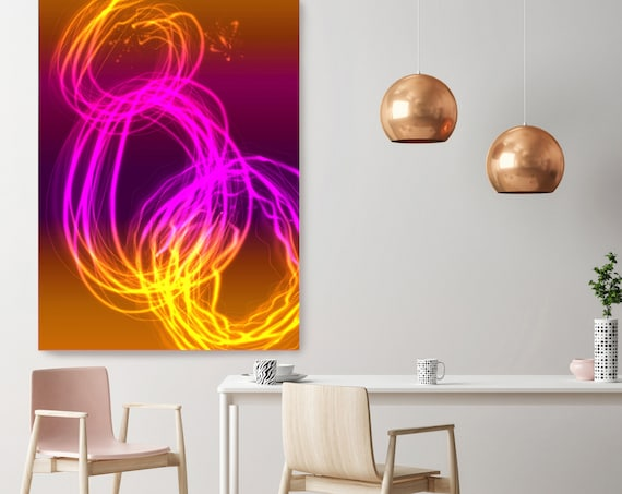 "Mysterious Light 46-1, Neon Purple Orange Contemporary Lines Wall Art, Extra Large New Media Canvas Art Print up to 72"" by  Irena Orlov"