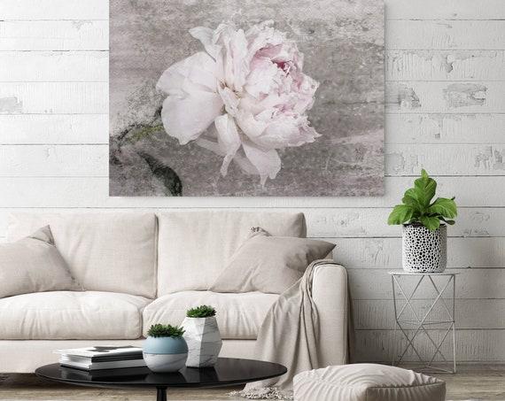 Blush Spring Peony 3, Shabby Pink Gray Rustic Peony Painting, Shabby Chic Blush Peony Painting Canvas Art Print Floral Print Blush Pink