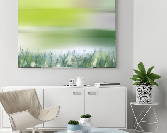 Morning River View. Green Seascape Canvas Art Print by Irena Orlov