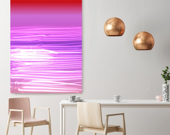 "Mysterious Light 65-1, Neon Purple Red Light Lines Contemporary Wall Art, Extra Large New Media Canvas Art Print up to 72"" by Irena Orlov"