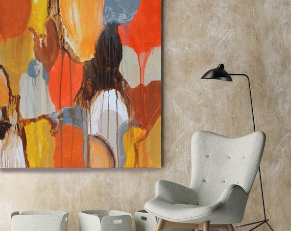 """Color Shapes. Orange Brown Abstract Art, Wall Decor, Extra Large Abstract Colorful Contemporary Canvas Art Print up to 48"""" by Irena Orlov"""