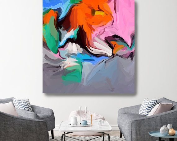 Live in Joy 2, Abstract Orange Gray Blue Original Painting, Contemporary art, Abstract Green Painting Print Irena Orlov