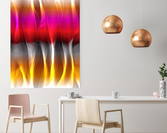 """Mysterious Light 3, Neon Black Red Yellow Contemporary Wall Art, Extra Large New Media Canvas Art Print up to 72"""" by  Irena Orlov"""