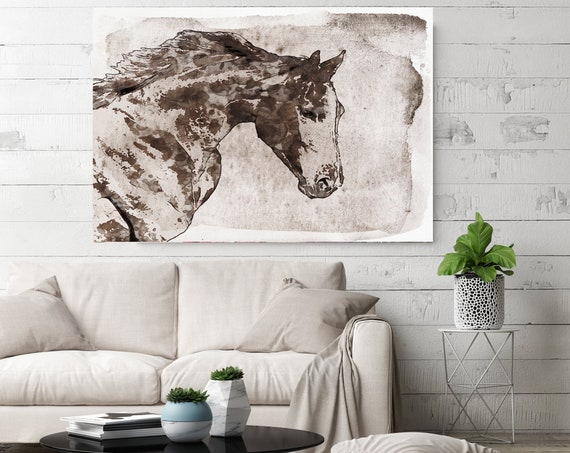 Dark Brown Horse. Horse Painting Art Horse Home Decor Horse Canvas Horse Canvas Art Horse Poster Horse Print Horse Horse Wall Decor