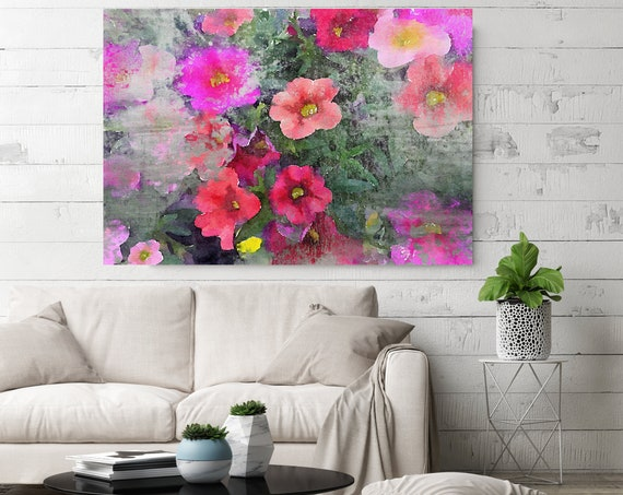 """Floral Embrace 1 Vintage Red Flower Watercolors Painting Canvas Print Pink Red Flower Watercolors Painting Canvas Art Print up to 72"""""""