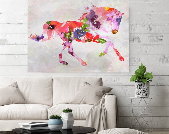 Spring Floral Horse Painting BOHO Mixed Media Horse Painting Canvas Print BOHO Floral Horse Art Large Canvas, Painted Horse Boho Wall Art