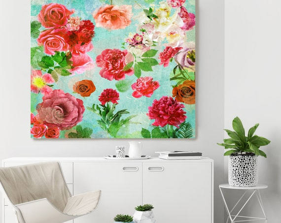 """Romantic- Boho Chic 1. Floral Painting Print, Boho Chic Floral Colorful Contemporary Canvas Art Print up to 72"""" by Irena Orlov"""