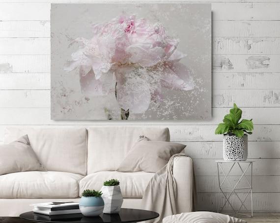 "Romantic Pink Gray Peony - Shabby Chic 5-1, Shabby Pink Gray Peony, Shabby Chic Blush Peony Flower Canvas Art Print up to 72"" by Irena Orlov"