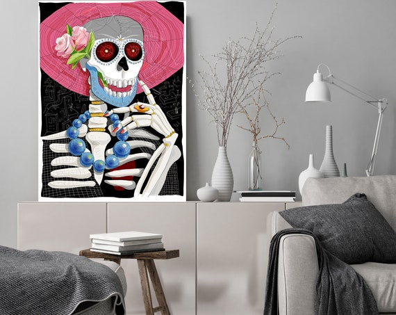 "Frida, Halloween Sugar Skull Floral Skull Art Canvas Print. Large Sugar Skull Painting Canvas Art Print up to 72"" by Zeev Orlov"