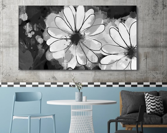 "Beautiful White Flowers. Floral Painting, White Black Abstract Art, Abstract Colorful Contemporary Canvas Art Print up to 72"" by Irena Orlov"