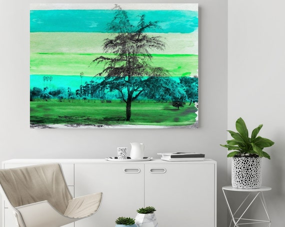 "Beautiful Nature Green Tree. Huge Rustic Landscape Painting Canvas Art Print, Extra Large Green Canvas Art Print up to 80"" by Irena Orlov"