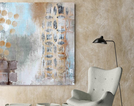 """Geometric Abstraction. Beige Blue Abstract Art, Wall Decor, Large Abstract Colorful Contemporary Canvas Art Print up to 48"""" by Irena Orlov"""