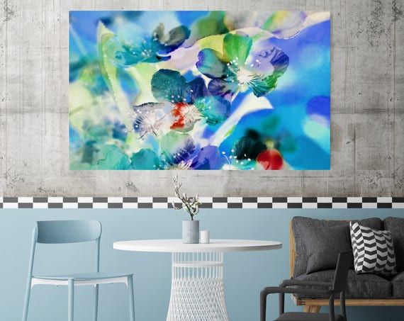"""Spring Sunshine. Floral Painting, Blue Green Floral Art, Large Abstract Colorful Contemporary Canvas Art Print up to 72"""" by Irena Orlov"""