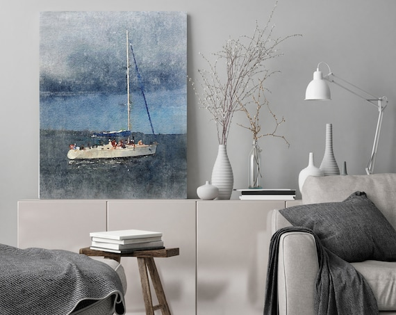 "Sunset Sail, Beach Decor, Boat, Coastal Wall Canvas Art, BLUEPRINT color, Sea Canvas Print 80"" by Irena Orlov"