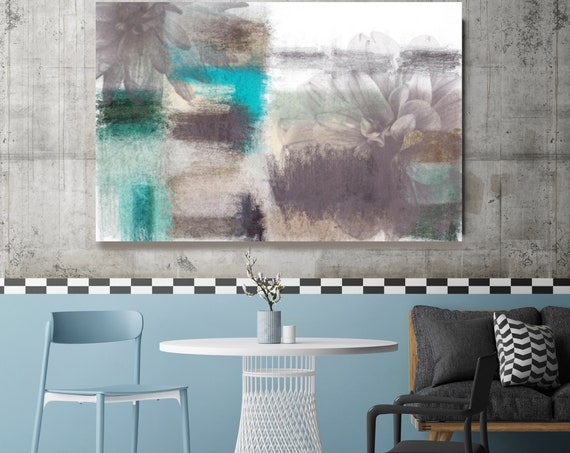 """Flow of relaxation. Floral Painting, Gray Blue Abstract Art, Rustic Large Abstract Contemporary Canvas Art Print up to 72"""" by Irena Orlov"""