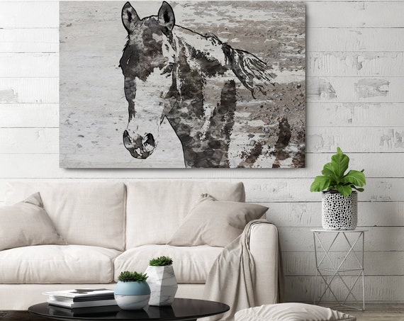 "Portrait of a Horse. Horse Art Large Canvas, Horse Art, Gray Rustic Horse, Rustic Vintage Horse Wall Art Print up to 81"" by Irena Orlov"