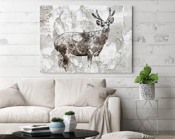 Indian hog deer 3. Deer Painting, Canvas Art Print, Large Rustic Deer Farmhouse Canvas Wall Art, Canvas Print, Irena Orlov